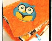 """Minky Blanket - Personalized baby blanket - orange minky dot with orange owl minky print- 30x36"""""""