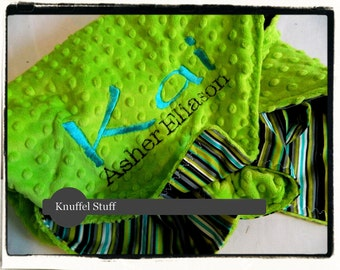 Green Blanket - Personalized baby blanket - Lime minky dot and stripes cotton