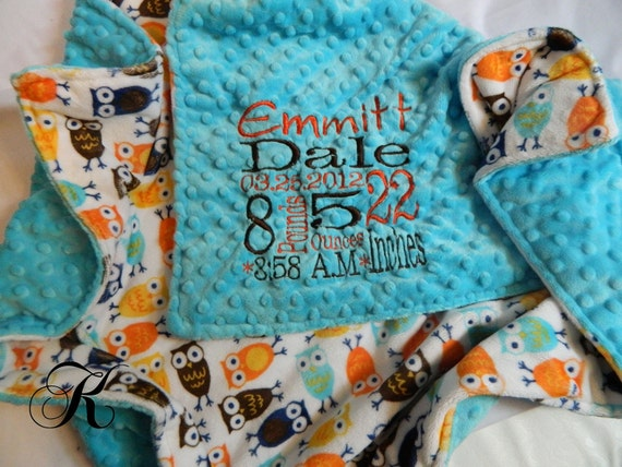 Blue Minky Blanket - Personalized baby blanket - Turquoise minky dot with Owl print minky - baby bedding