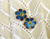 Enamel beadcaps-blue and iris teardrops