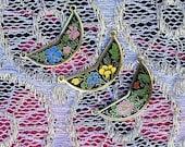 3 vintage enamel floral charms