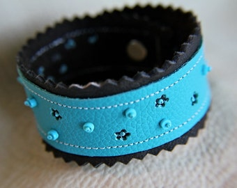 Fairy Horse Flower Garden Leather Cuff