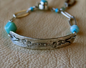 Dream Big Silver ID Charm Bracelet