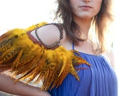 Bohemian rusty orange brown feather necklace and shoulder piece, epaulet, bib- multifunctional creative uses