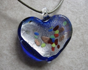 blue and silver glass heart confetti pendant on leather neckcord