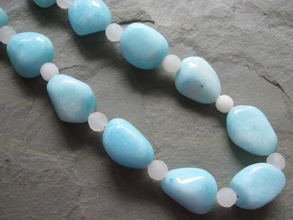 light aqua snow quartz chunky necklace