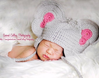 PDF, Crochet Elephant Hat, Crochet Pattern, Hat Pattern, Elephant Hat, Baby Beanie, PDF Pattern