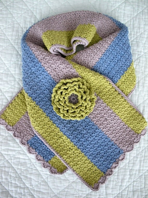 Crochet scarf striped in green grey and blue