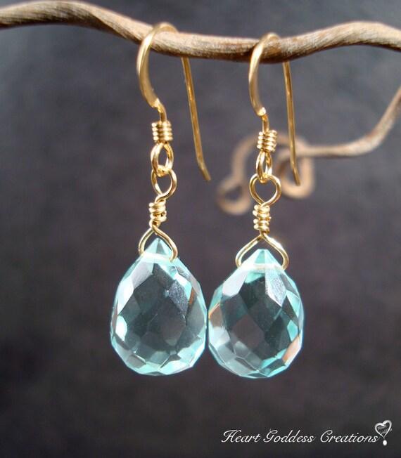 The Elegant Gold And Faceted Light Blue Quartz Drops Earrings