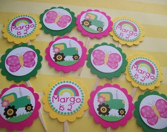 Pink Green Tractor cupcake toppers