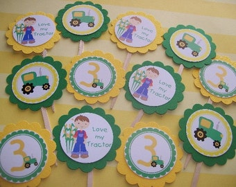 Green Tractor cupcake toppers