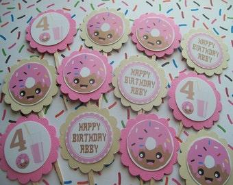 Pink Doughnut cupcake toppers