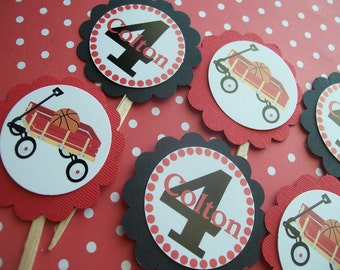 Red Wagon cupcake toppers set of 12