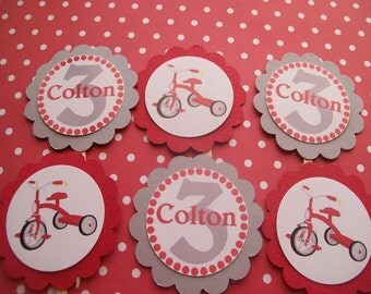 Red Tricycle cupcake toppers set of 12