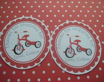 Red Tricycle tags set of 12