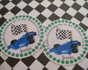 Race Cars tags set of 12