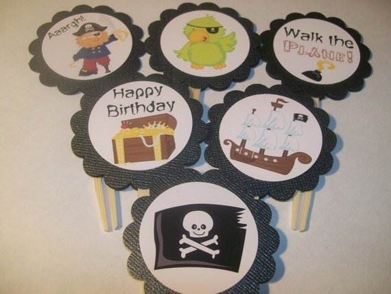 Pirate Cupcake Toppers set of 12