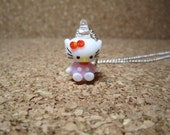 Pink Hello Kitty Lampwork Glass Charm Pendant Necklace Gift Set - 270
