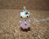 Milky Pink Dress Hello Kitty Lampwork Glass Charm Pendant Necklace Gift Set - 276