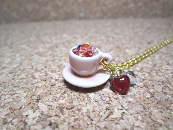 My Cup of Coffee - Miniature Porcelain Teacup with Mix Seed Beads, Red and Clear Heart Glass Drops Necklace Gift Set - 20