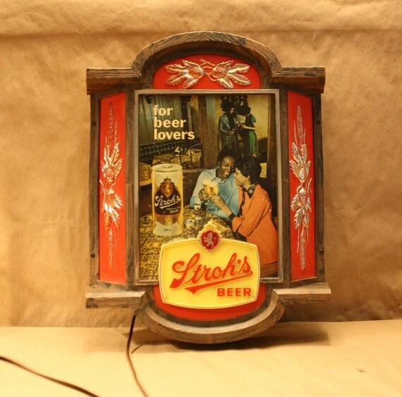 Stroh's Beer vintage light African american retro plastic sign