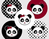 M2MG HOLIDAY PANDA Bear Bottle Cap Graphics Images Art Designs One Inch Circle - Instant Download