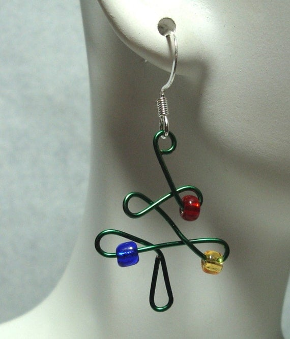 Earrings christmas tree wire glass beads unique jewelry by
