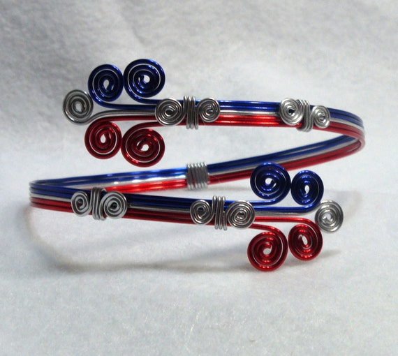 NEW Bracelet, Arm Cuff, Red, Silver, Blue, Aluminum, Wire Wrap, Unique Jewelry by thecuriouscupcake on Etsy