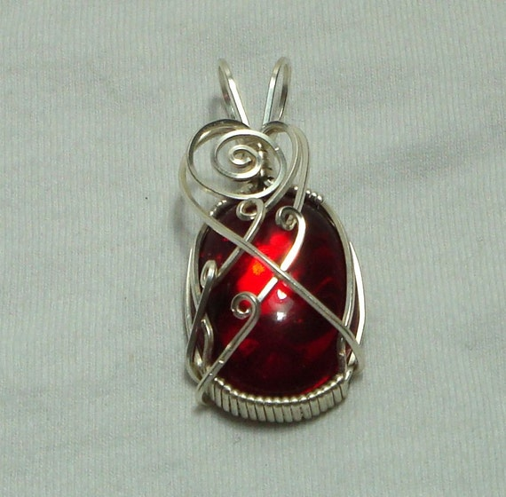 Pendant, Silver, Red, Iradescent, Wire Wrapped, Non-Tarnish, Unique Jewelry by thecuriouscupcake on Etsy