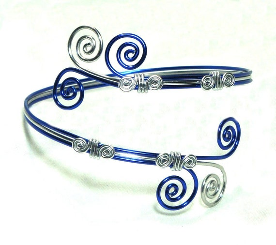 Arm Band, Arm Bracelet, Arm Cuff, Blue and Silver, Aluminum, Unique Jewelry by thecuriouscupcake on Etsy