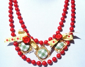 Cherries and Gingham Rockabilly Recycled Red Plastic Necklace