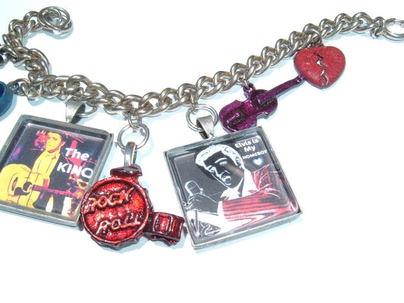 Elvis Is My Homeboy Recycled Vintage Charm Bracelet
