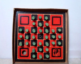 Peg Solitaire Game Vintage Puzzle Sherms Creations Wood Markers