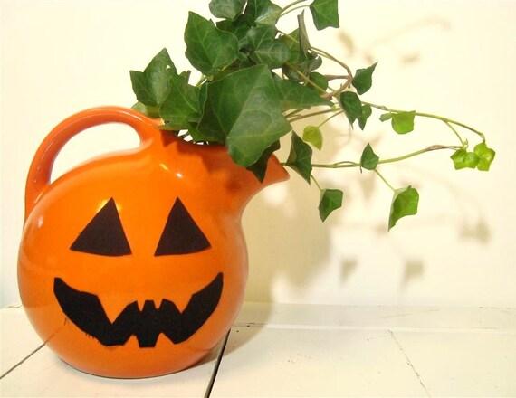 Ball Pitcher Vintage Orange 547 Jug Autumn Decor Halloween Party Farmhouse Kitchen