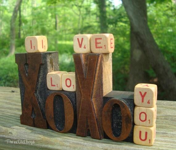 Vintage XOXO Letterpress Blocks plus I Love You Scrabble Cubes