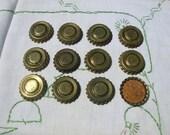 12 Vintage Metal Bottle Caps Cork Lined