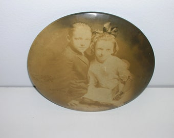 Vintage Photo on Large Tin Metal Button Back Brother and Sister Boy and Girl in Sepia
