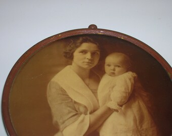 Vintage Sepia Photograph mounted on Round Tin Frame with Stand  Mother and Child