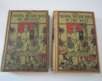 2 Vintage The Moving Picture Boys Books by V. Appleton 1913 Adventure