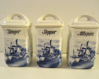 3 Vintage Ceramic Spice Jars with Lids  Blue and White Delft Type  Windmills Pepper Ginger Allspice