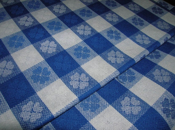 blue and white checked cotton fabric 3 yds. Black Bedroom Furniture Sets. Home Design Ideas