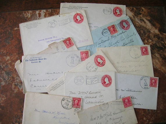 20 Vintage Envelopes with Stamps/Postmarks/no letters 1900-1919