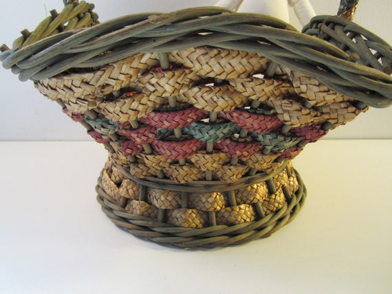 Vintage Woven Straw Easter Basket Centerpiece