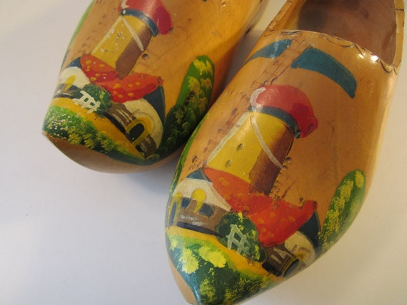 Vintage Dutch Wooden Shoes Hand-painted Holland Adult Clogs