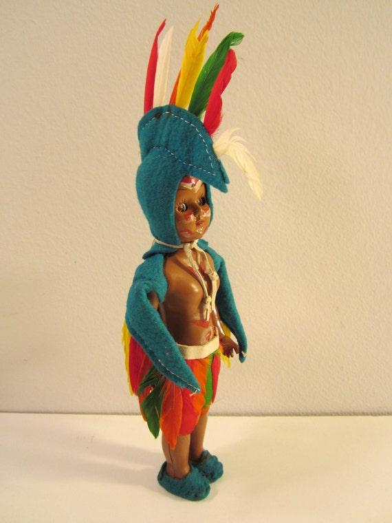 Vintage Celluloid American Indian Doll Eagle Dancer