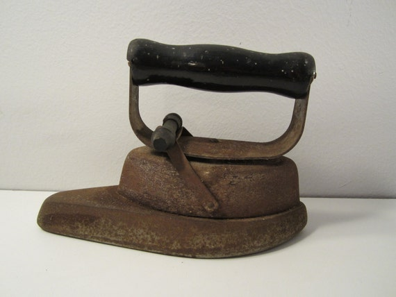 Rusty Old SAD Flatiron with Wooden Handle  Vintage Clothes Iron