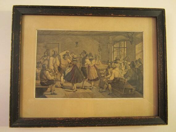 Vintage Framed German Tavern Scene Print  Picture