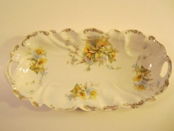 Vintage Porcelain Relish Dish Serving Tray Floral with Gold Trim