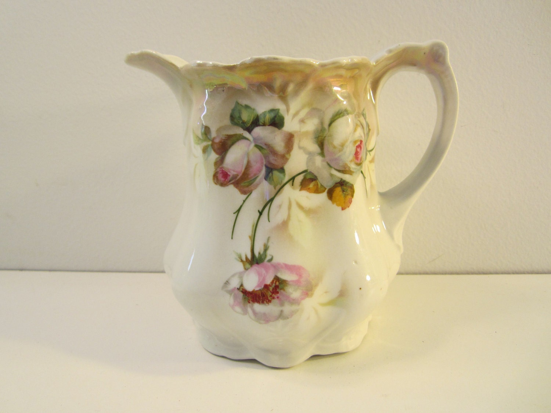Vintage Porcelain Pitcher Leuchtenburg Germany Transferware
