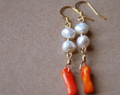 Freshwater pearl and orange coral earrings
